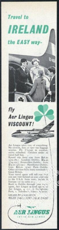 1957 Aer Lingus stewardess plane photo vintage print ad