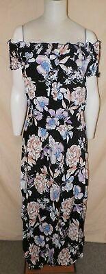 Boohoo Women's Plus Helen Floral Off The Shoulder Maxi Dress Black HM7 Size US16