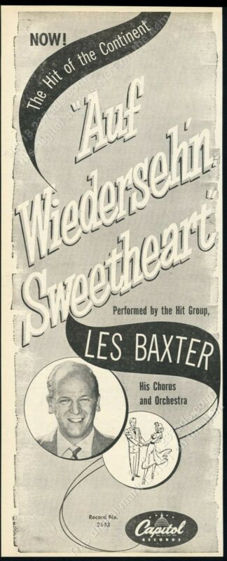 1952 Les Baxter photo Auf Wiedersehn Sweetheart record release trade print ad