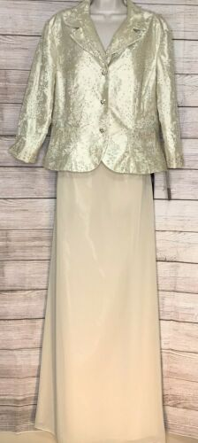 Champagne MOB Cachet Gown 2-pc Skirt Jacket Wedding Formal Spec Occasion Size 16