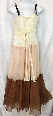 Lee Mathews Celia Tiered Crinkle Silk Maxi Cream Brown Size 0 Nwt