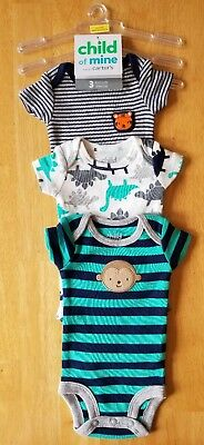 Baby Boys Clothes, Set of 3 Short Sleeve Bodysuits, Size Preemie, Carter