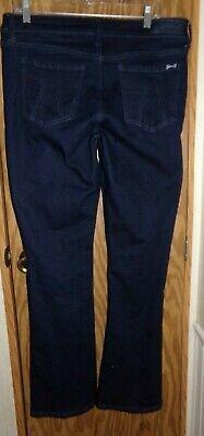 Dark Denim Flare Jeans (Seven7 Micro Flare Jeans Size 12 Dark Blue Denim 7 Embossed Back Pockets)