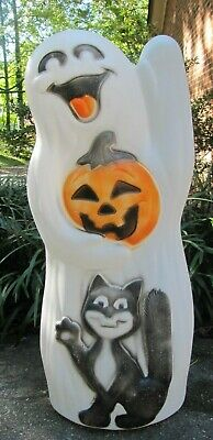 """Vintage Empire Halloween Ghost with Pumpkin & Black Cat Blow Mold 33"""" Tall"""