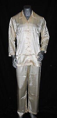 NWT Personalization men Sleepwear Satin pajama PANTS Shirt SET Ivory *S, M](Personalized Mens Pajamas)