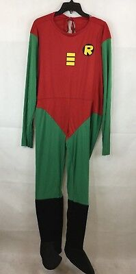 Batman Robin Costume Mens Large NWOT Jumpsuit DC Comics Boot Covers NO MASK New - Robin Costume Mask