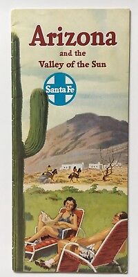 Vintage 1950 Santa Fe Railroad Arizona and the Valley of the Sun Travel brochure