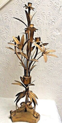 """Antique Gold Aesthetic Period Floral 33"""" Tall French Candleabra Candle Holder"""