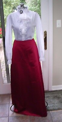#A LADIES  RED LONG  SKIRT ~STEAMPUNK VICTORIAN DICKENS COSTUME SMALL TALL](Steampunk Victorian Lady Costume)