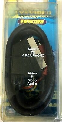 mercury TV & VIDEO 1.5 metre Scart to 4 RCA phono  Video & Mono Audio  cable