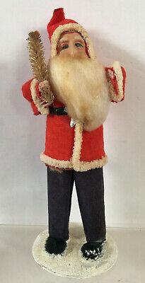 """Blue Eye Felt Red Blue Suit Chenille Trim Standing Santa Bottle Brush Tree 6"""""""