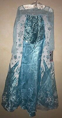 girls SUPER SPARKLE FANCY DISNEY FROZEN HALLOWEEN COSTUME DRESS 7/8 ELSA RING @@