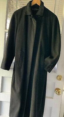 ANNE KLEIN Wool Coat Long Dk Grey Sz 10 P Fully Lined; Long Back  Pleat. -