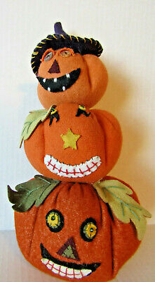 Stacked Fabric Pumpkins stuffed Jack O Latern Halloween Decor New Steampunk
