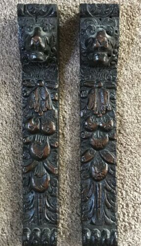 ANTIQUE CARVED WOOD LION ARCHITECTURAL SALVAGE PILLARS COLUMNS POSTS - Pair, 18""