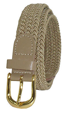 """405 - BEIGE LADIES NYLON BRAIDED STRETCH BELT 1""""WIDE ON SALE & SIZES TO FIT MOST"""