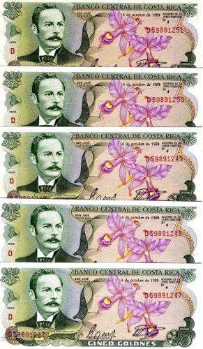 LOT Costa Rica, 5 x 5 Colones, 1989, P-236d, UNC -> colorful