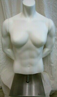 Female Mannequin White Upper Torso Nike With Arms Hands Adj. Pole Display