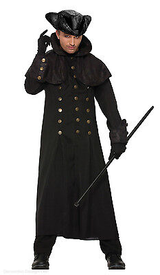 Mens Long Black Coat & Hat 18th Century Costume Highwayman 19th Poldark 40-42 IN](19th Century Halloween Costumes)
