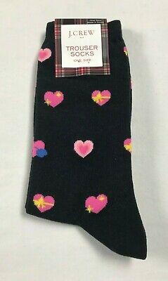 NWT J. Crew Trouser Socks One Size OSFA Heart Love Print