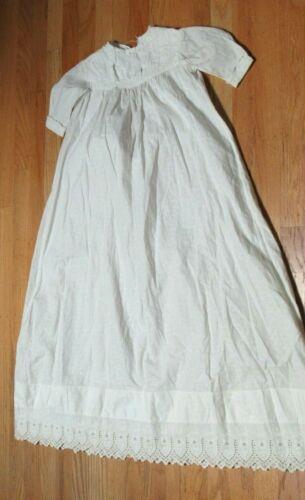 Antique Victorian Embroidered White Cotton Child
