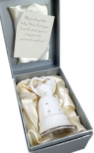 """Porcelain BABY BELL Jeweled Premium Ornament  4.75"""" New In Box 107450"""