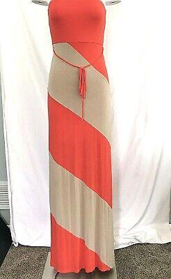 Pink Crayon Womens Strapless Maxi Dress Sz S Striped Coral Orange Tan Lined](Crayon Dress)