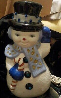 Rare VTG 70s Christmas Ceramic Mold Snowman Light Up Figurine 1976
