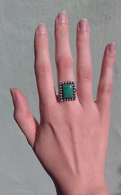 1940s Jewelry Styles and History VINTAGE 1940'S NAVAJO INDIAN STERLING SILVER RECTANGLE TURQUOISE RING SIZE 4 $95.00 AT vintagedancer.com