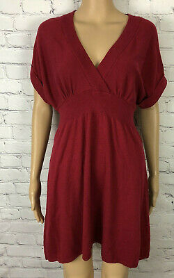 NWOT Express Dress Red V Neck Banded Waist Sweater Knit Women's Size M Banded Waist V-neck Dress