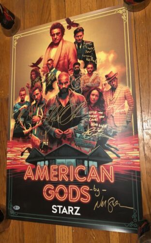AMERICAN GODS SIGNED PHOTO 18X24 RICKY WHITTLE EMILY BROWNING AUTOGRAPH NYCC BAS