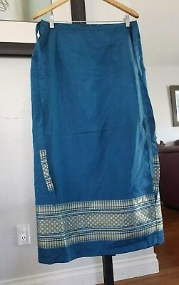 Woman's Thai Tradition Wrap Long Skirt Tie Waist Turquoise & Printed Gold Sz (Turquoise Wrap Skirt)