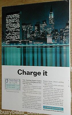 1966 American Express Company Advertisement Page  Am Ex Credit Card  Nyc Skyline