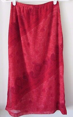La Belle Floral Skirt (Red Floral Paisley Midi Skirt Size M Lined 24