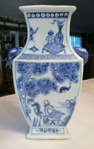 ANTIQUE ASIAN CHINESE DEER & STORK Blue and White RECTANGLE PORCELAIN VASE