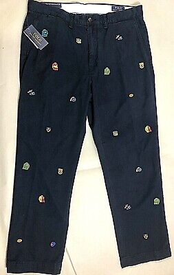 NWT Men's Polo Ralph Lauren Embroidered chino pant. NAVY  Size 40x32 $98.50