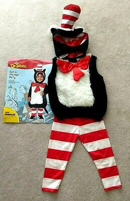 Dr. Seuss Cat in the Hat Toddler 2T-4T Costume 3 Pieces Halloween