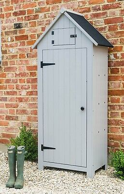 Grey Sentry Tool Shed Gardening Outdoor Tall Wooden Storage