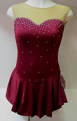 COMPETITION ICE FIGURE SKATING DRESS Burgundy Sweetheart Crystals Adult XL NWT