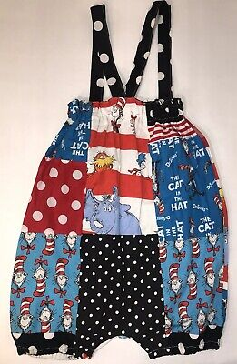 Dr. Suess Cat in the Hat Handmade Bubble Romper One Piece Baby Toddler Girl's