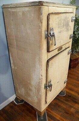 Antique Metal 2 Door Ice Box Nickel Plated Brass Hardware home Bar Mancave size