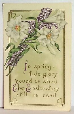 Postcard Vintage Easter Greeting Poem Floral Cross Posted Iowa Stamp 3-27-1923