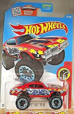2016 Hot Wheels #161 HW Daredevils 1/10 OLDS 442 W-30 Red Variant w/Blue Rim Whl