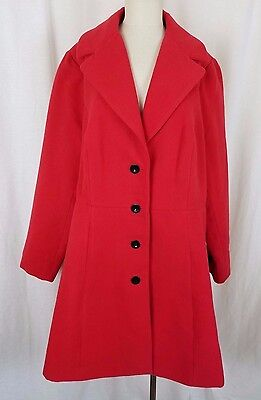 City Chic Clean Cut A-Line Vegan Swing Peacoat Coat Womens XL Red Nordstrom NWT
