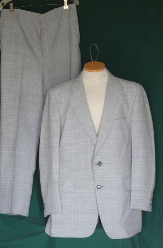 60s Vintage Light Blue Plaid Suit C44