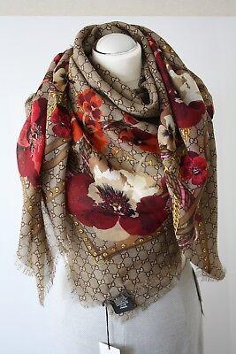 GUCCI 508797 Schal Tuch mit GG Muster 140x140 cm 100%Wolle  NEU