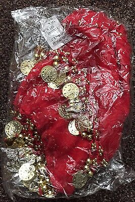 Dancer Costume 2 Rows Belly Dance Hip Skirt Scarf RED with  Gold Coins