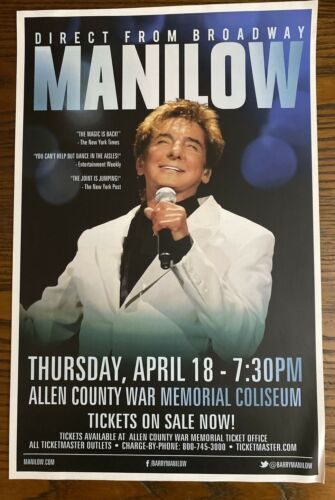 BARRY MANILOW Poster 2013 Fort Wayne Direct from Broadway Concert Tour Original