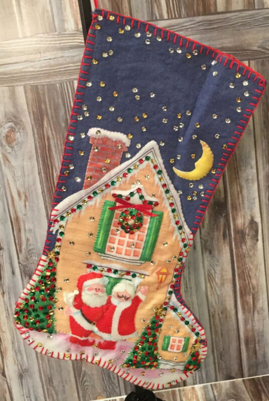"""Bucilla Santa And Mrs. Claus Christmas Stocking Completed Finished 17"""""""