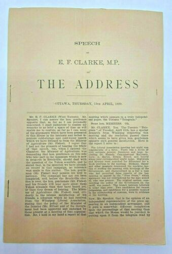 1899 Speech E.F. Clarke, MP The Address Ottawa Speech